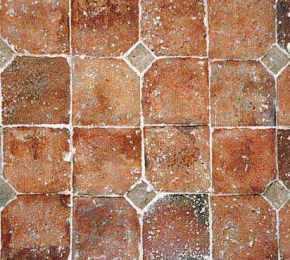 Padlástégla padló díszítve
